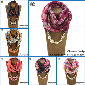 Women Ladies Beads Pendant Necklace Scarf Collar Shawl Scarves Jewelry Wrap