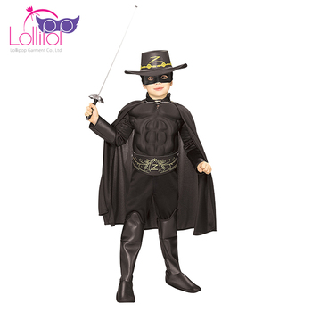 Directly factory sell kids zorro costume for cosplay unique halloween cosplay costumes