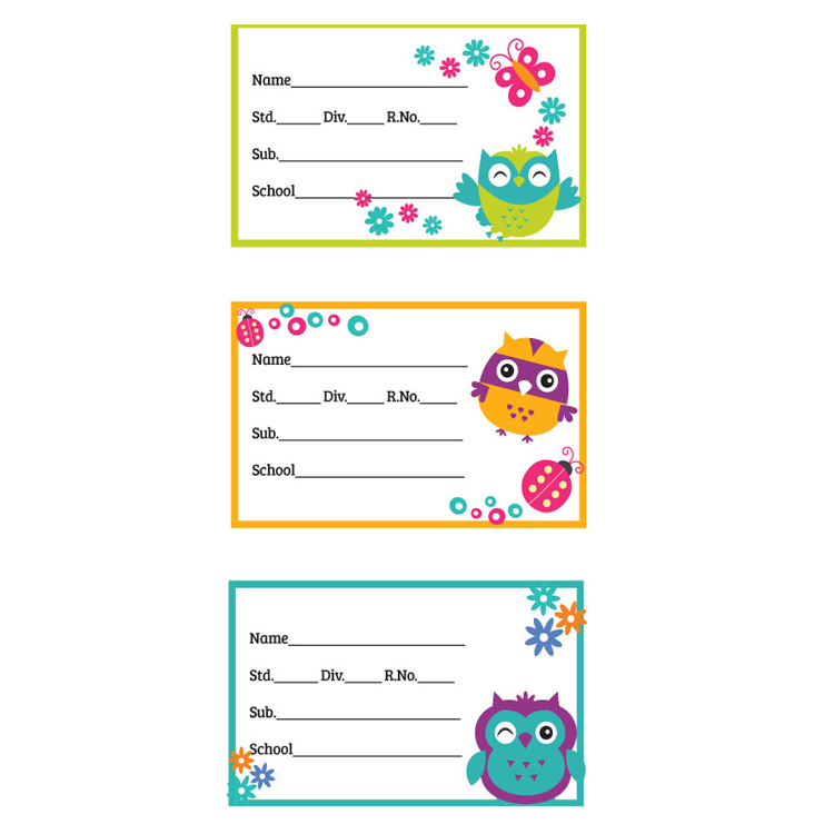 Custom self adhesive school book labels name stickers for kids books