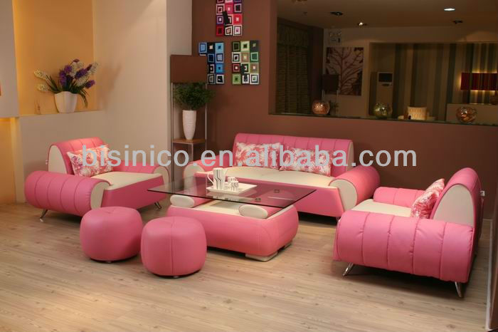 Morden Contemporary Style Pink Leather Sofa,Unique Design Sectional ...