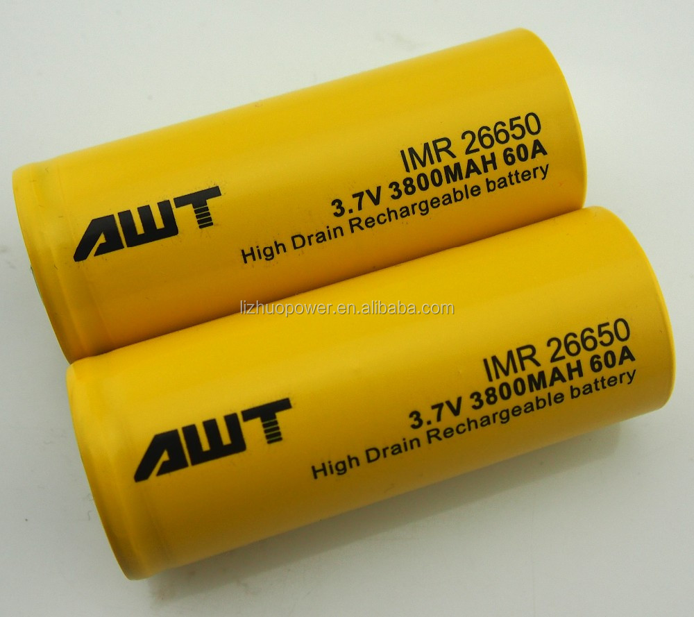 China supplier AWT 26650 3800mah 3.7v 60A high discharge rate lipo battery	1.3 volt batteries for kraft paper vapor barrier