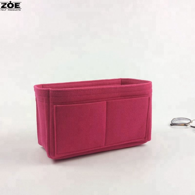 Multi Pockets Insert Purse Felt Organizer Cosmetic Makeup Bag for Ladies and <strong>Travel</strong>