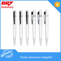 Sliver colour Aluminum coated plastic ball point pen,ball pen black