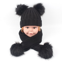 candy color kids neck warmer baby scarf and hat faux raccoon fur ball knitted hat set