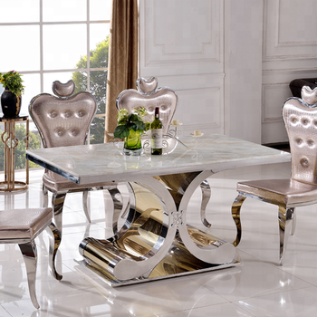 Th394 Stainless Steel Marble Top Dining Table Best Price
