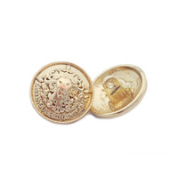 Fashionable logo engraved sewing design custom metal gold shank button