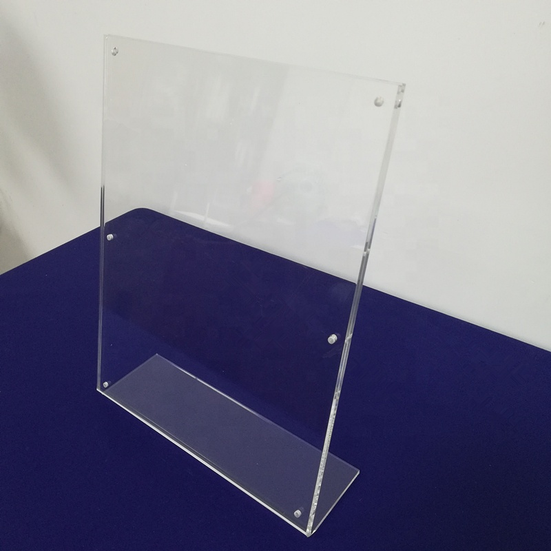 Clear 8.5 x 11 Acrylic Sign Holder with Slant Back and Four Silver Standoffs