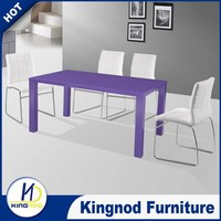 Modern Casual MDF high gloss Four Legs purple Dining Table