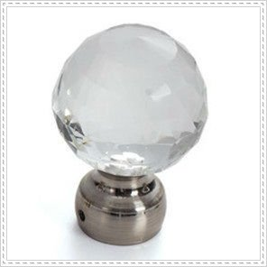 crystal glass curtain rod finials with nickel base ball window tube finials