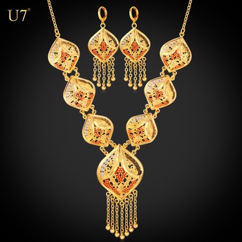 U7 wholesale earrings and necklace set gold plated fashion accessories woman retro indian bridal jewelry sets