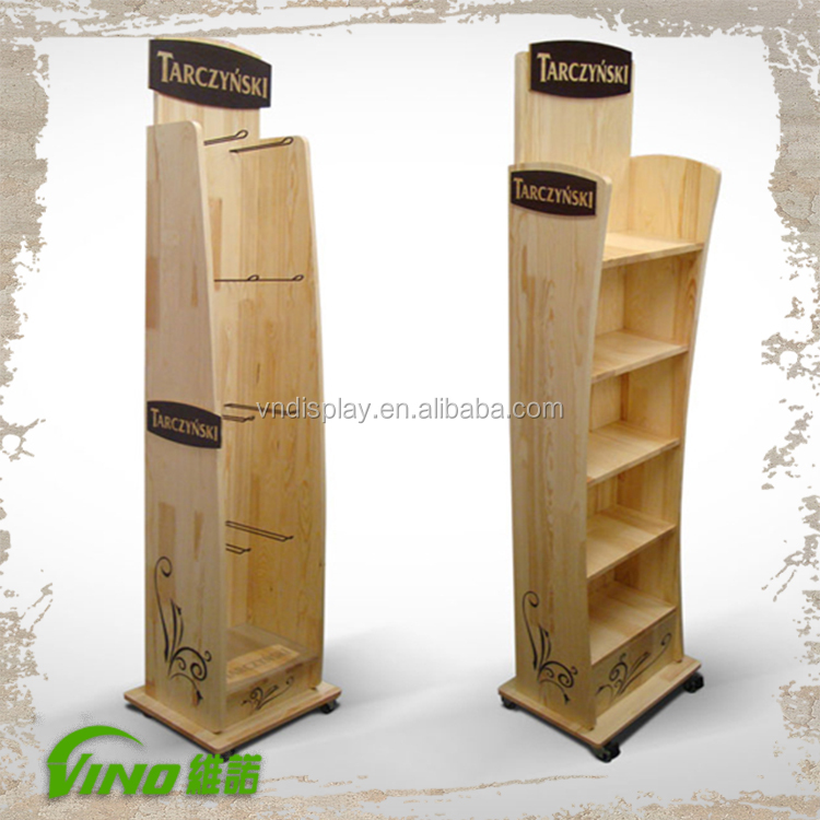 Retail Floor Display Stand Supermarket Wooden Shelf Rack Promotion Display With Wheels Buy