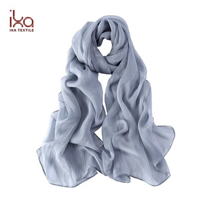 Summer Long Women Fashion Plain Dyed 100% Silk Turkey Chiffon Scarf Bursa
