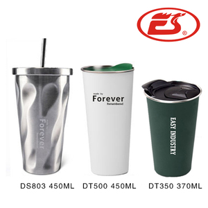 2018 Design 16oz 304 stainless steel coffee mug double wall metal coffee tumbler with straw