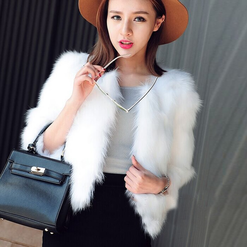 Luxury Women Faux Fur Coat Jackets Women `s Winter Fox Fur Coat Furry  Shaggy Coats black White Fake Fur Coats 1295f211e