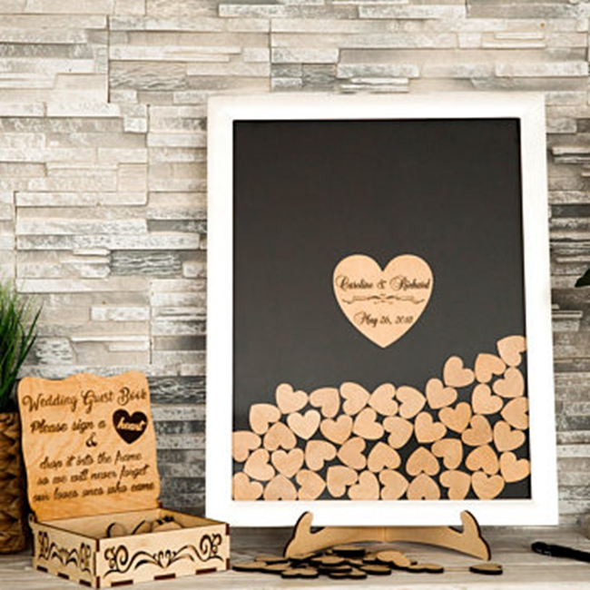Heart shape wedding favour wood guest book