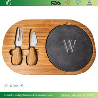 Cathy's Concepts Personalized Bamboo & Slate Cheese Board Set with Utensils, Letter W