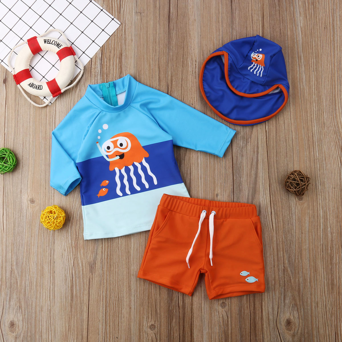 20e47e0db3f1 2019 Hot Fashion Toddler Kids Baby Boys Swimwear Long Sleeve Cartoon ...