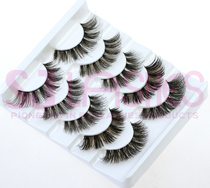 Private Label Double Layered Hand Tied Lashes Faux Mink Eyelashes Synthetic Hair Material Custom Fake Eyelashes