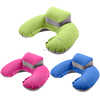 PVC flocking inflatable travel pillow set,inflatable pillow with case,eye mask