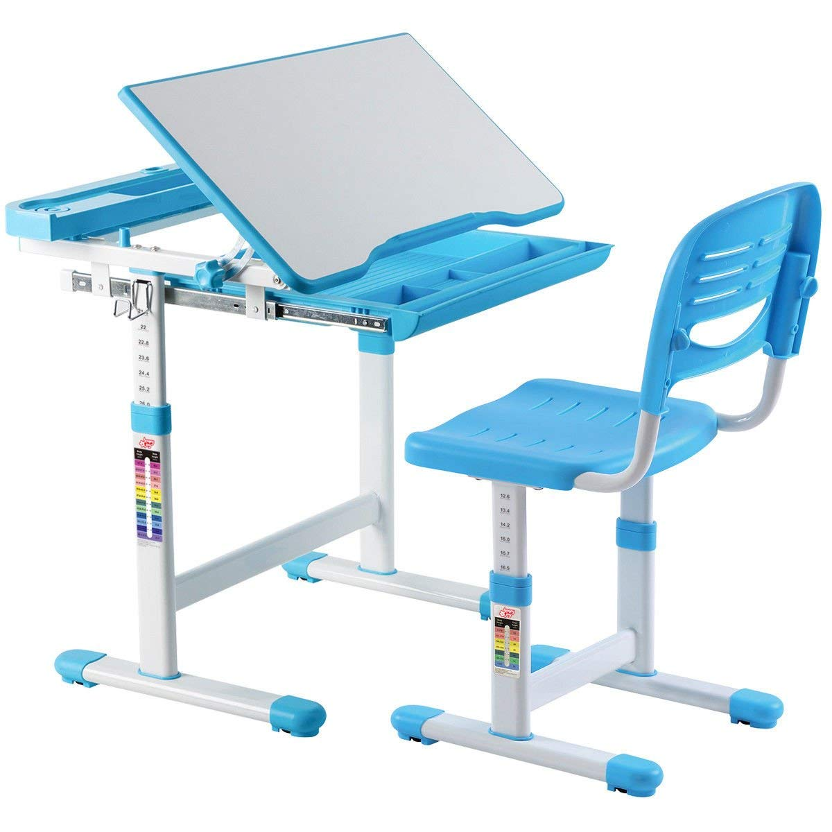 Get Quotations · AyaMastro Blue Kids Multifunctional Study Drawing Table  Children Desk Set W/Adjustable Height U0026 Chair