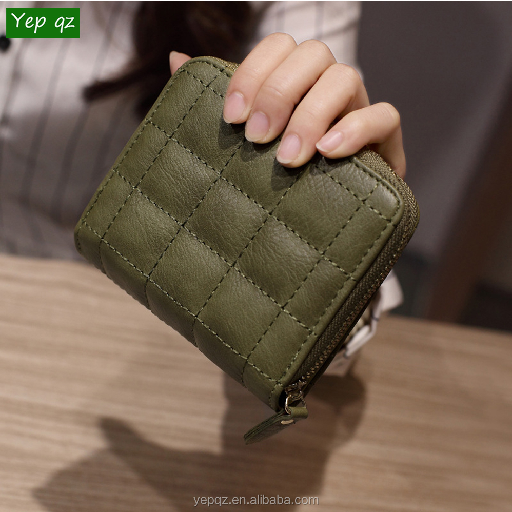 Online wholesale best selling Coin Purse zippered promotion leather cute credit card ladies wallet