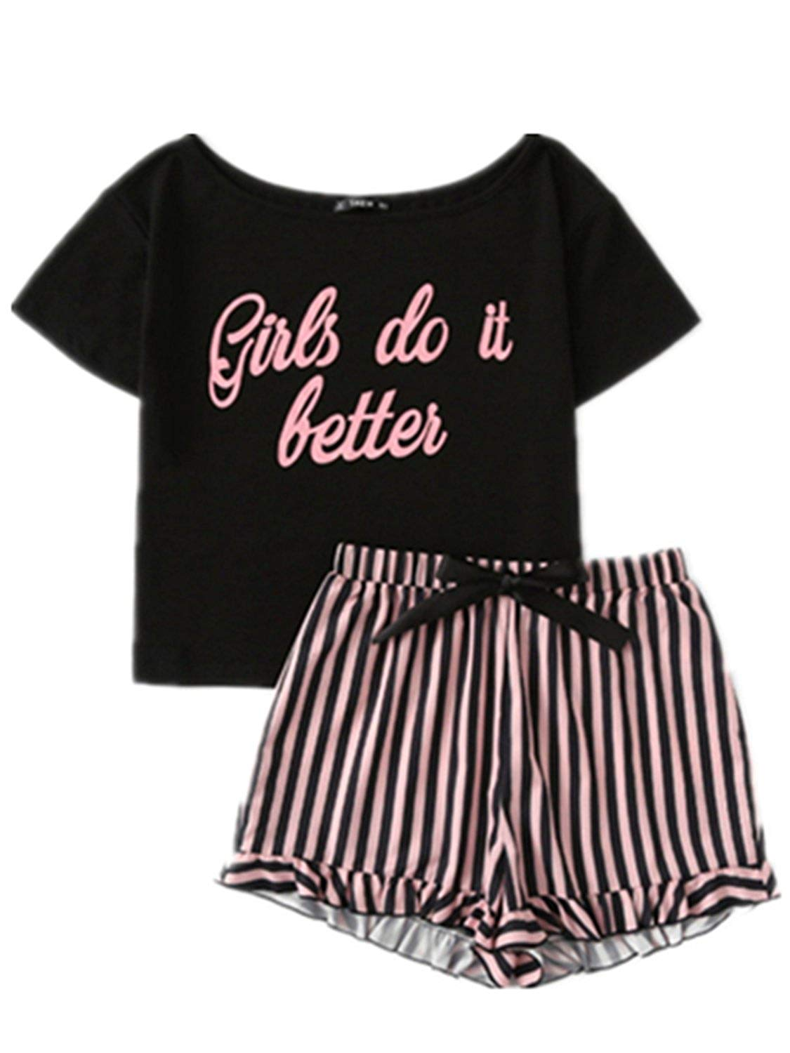 49cc4b0ae1 Get Quotations · Letter Print Short Sleeve Top and Striped Shorts Pajama Set  Ladies Summer Sleep Wears Womens Casual
