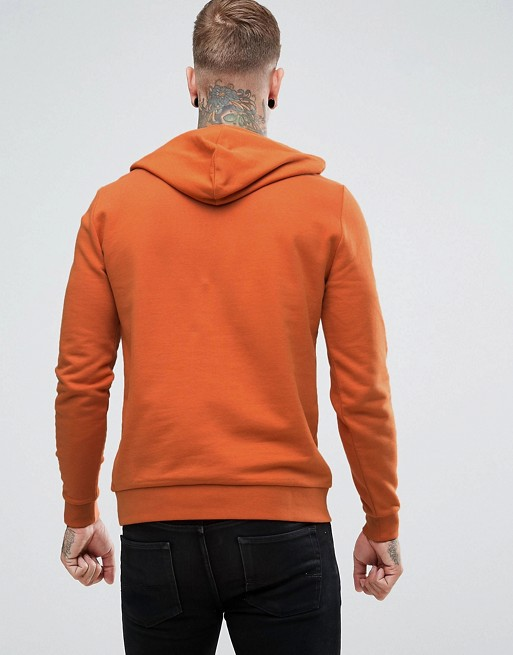 KY wholesale 100 cotton Drawstring hood Long sleeves Over-the-head style Pouch pockets Ribbed trims orange fleece hoodie