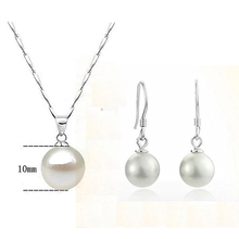 top quality Wedding bridal jewelry sets pearl pendant necklace double ball gangle earring allergy free