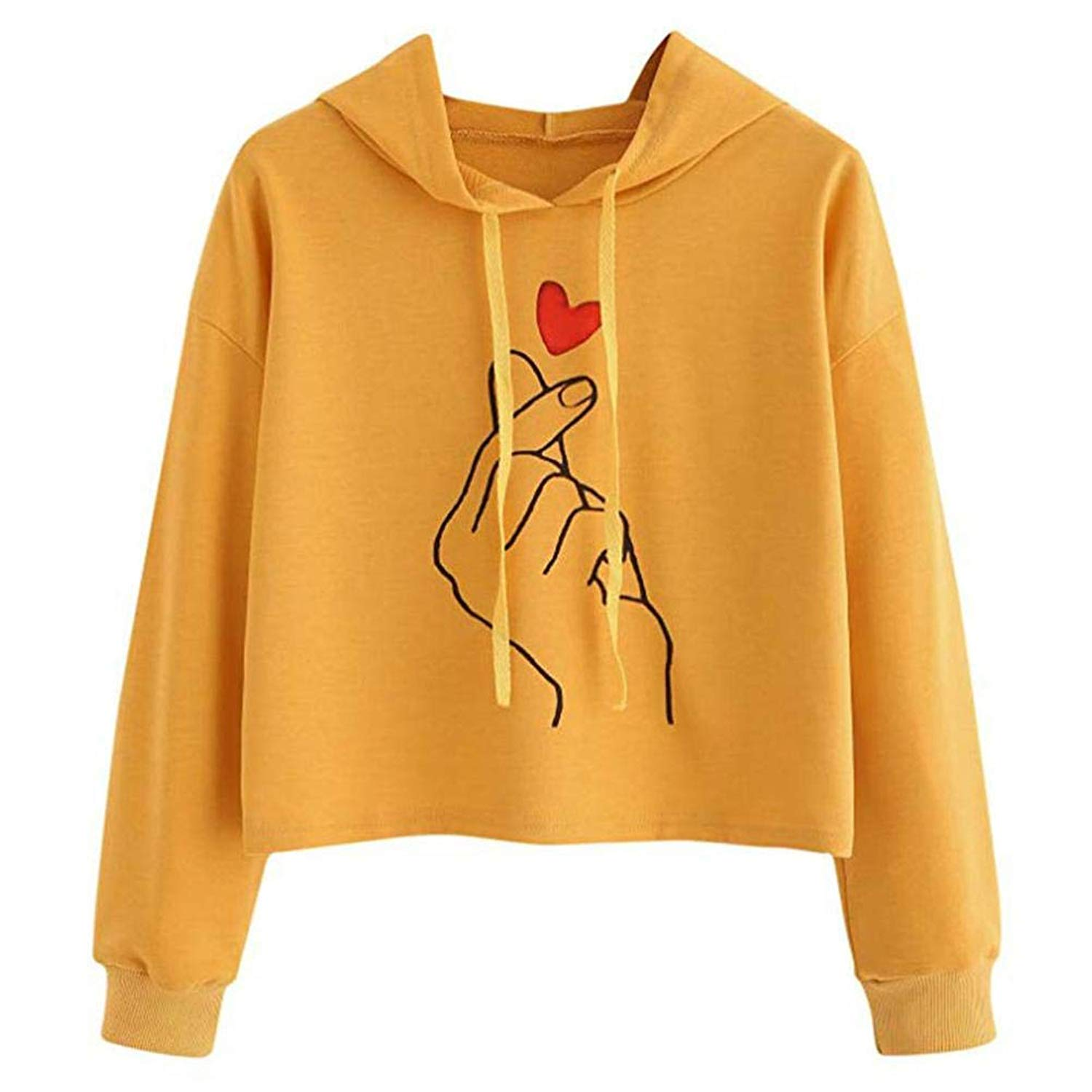 FDelinK Clearance! Women's Sporty Graphic Pullover Teen Girls Drawstring Hoodie Crop Sweatshirt Top