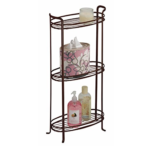 Get Quotations · MDesign Free Standing Bathroom Storage Shelves For Towels,  Soap, Candles, Tissues, Lotion