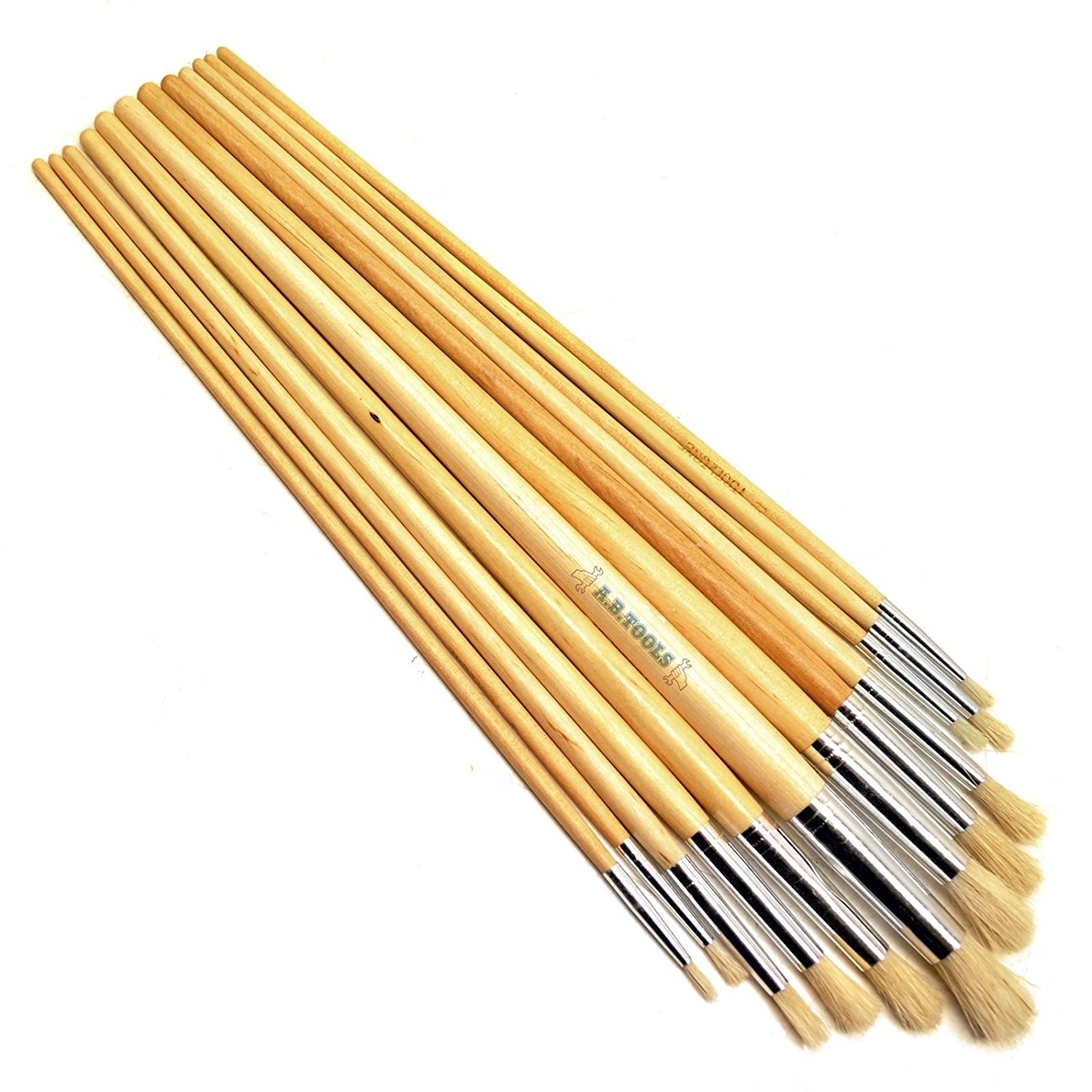 12pc Artist Craft Brushes Round Head Wooden Handles Paint Brushes TE582