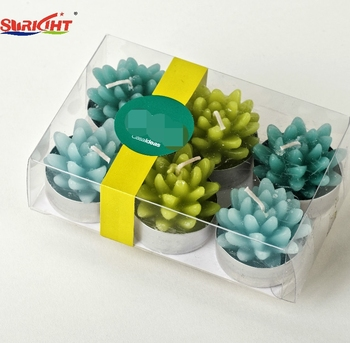 6pcs PVC Box Gift Set Succulent Plant Shaped Scented Tealight Candle for Decorations