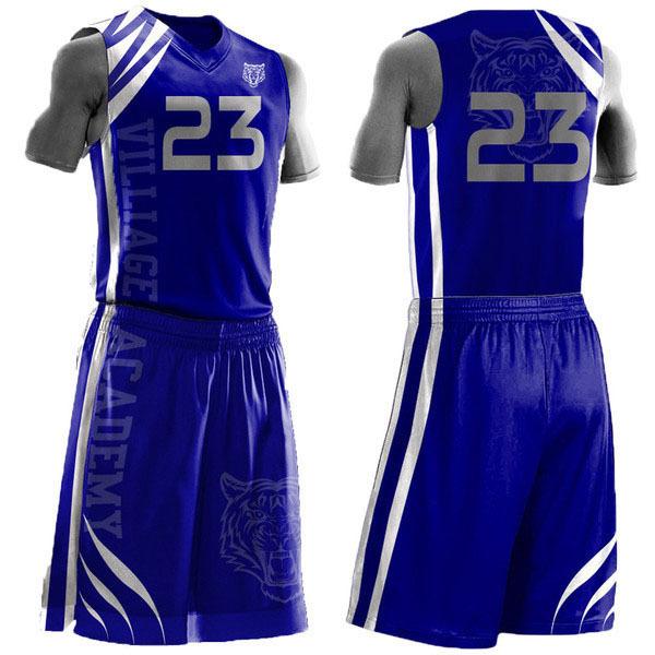 Blue Custom High School Basketball Jersey Uniform