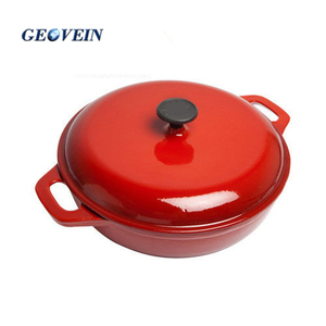 Enamel coated Cast Iron round hot pot casserole dish with lid