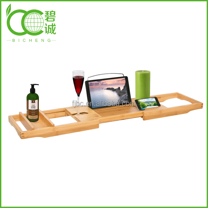 Bamboo Bathtub Caddy,Handcrafted With Reading Rack And Wine Glass ...