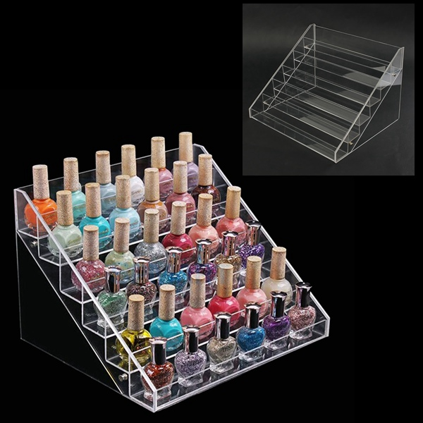 Easy Install Crystal Transparent Acrylic Nail Polish Stand, Acrylic Nail Polish Rack Organizers