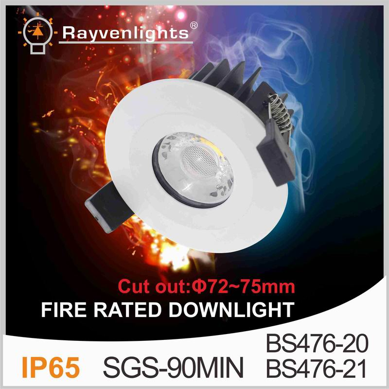 UK market SGS 30 60 90 minutes 10W IP65 fire rated led <strong>downlight</strong> warm white