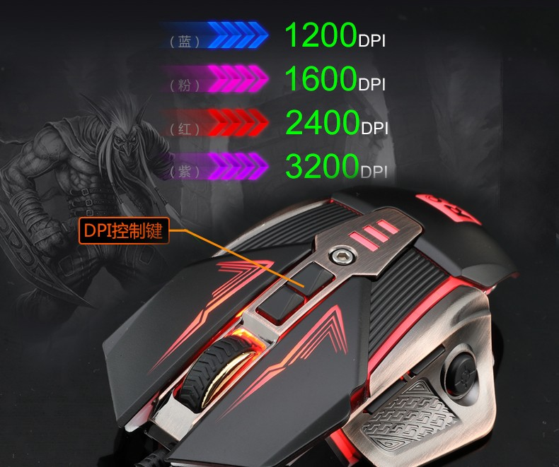 Ratón de juego 8d USB 8d de alta calidad con interruptor DPI ajustable