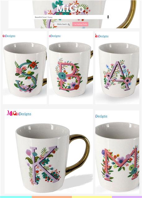 Fabricação De Cerâmica Floral letra Inicial do anúncio caneca Caneca Caneca de Café Personalizada alça dourada