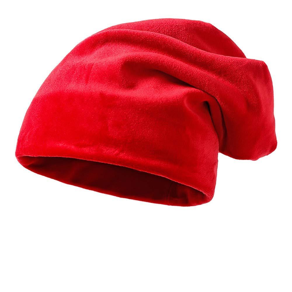 DEATU Clearance Solid Color Hat Unisex Warm Knit Hat Thick Velvet Wrap Cap Men Women Hats