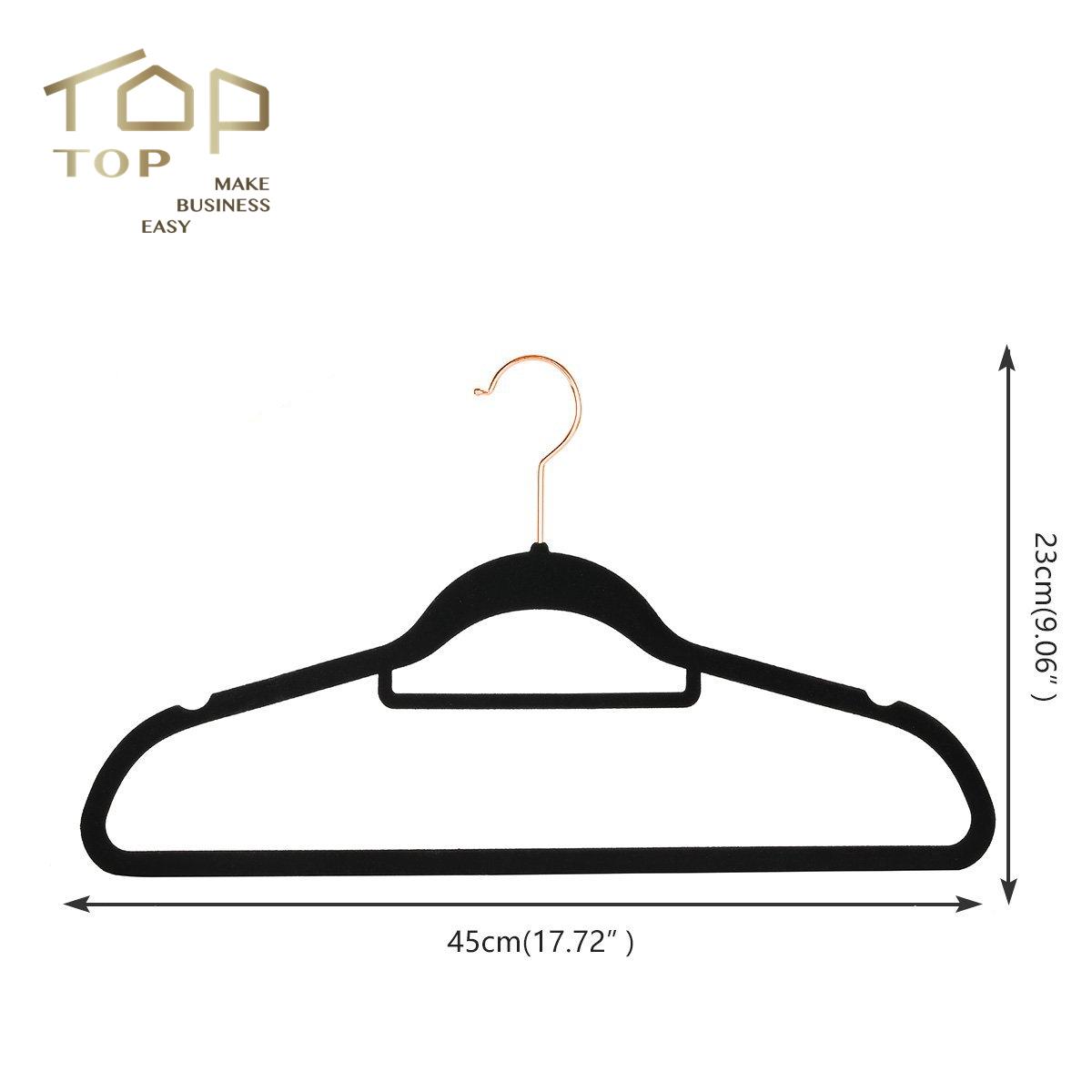 Wholesale Flocked Coat Clothes Black Velvet Hanger with Rose Gold Hook
