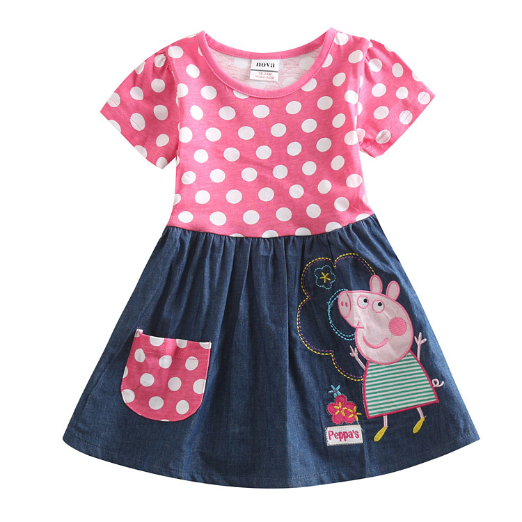 retail 2y/6y print dot cartoon baby girl dress pink color o-neck cotton nova kids girls princess party dress children clothing