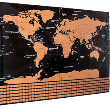 Gold World Map Poster.Scratch Off World Map Poster Gold Foil Large Size 32 5 X 23 5 In