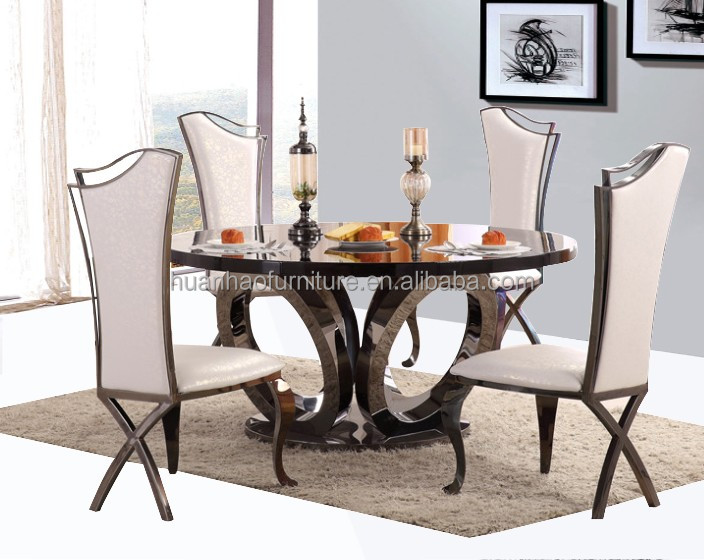 Modern dining room furniture round marble tops stainless steel base table
