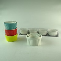 Wholesale customized multiple color round mixing souffle cup bowl set ceramic ramekin