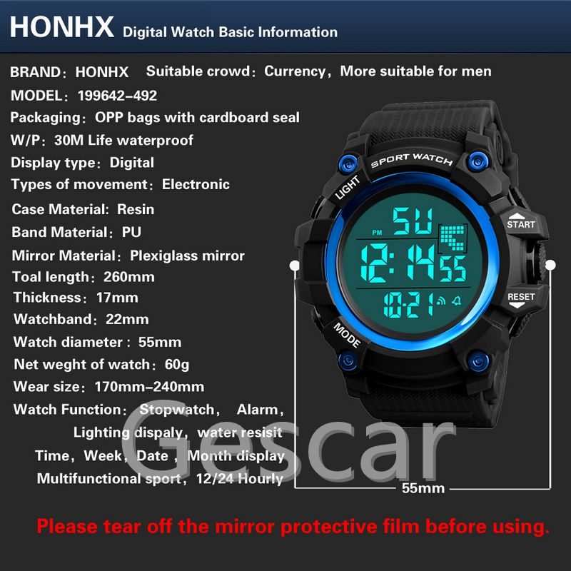 reloj de hombre HONHX digital watch lighting display electronic movement PU band digital watch casual sports watch