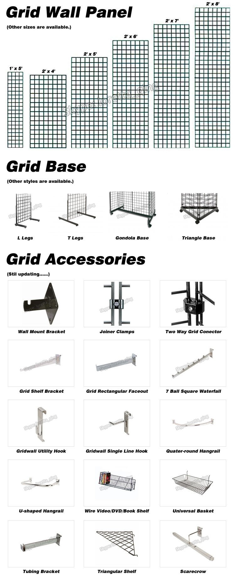 Chrome, White and Black Slat Grid and Gridwall Panels Display Shelves