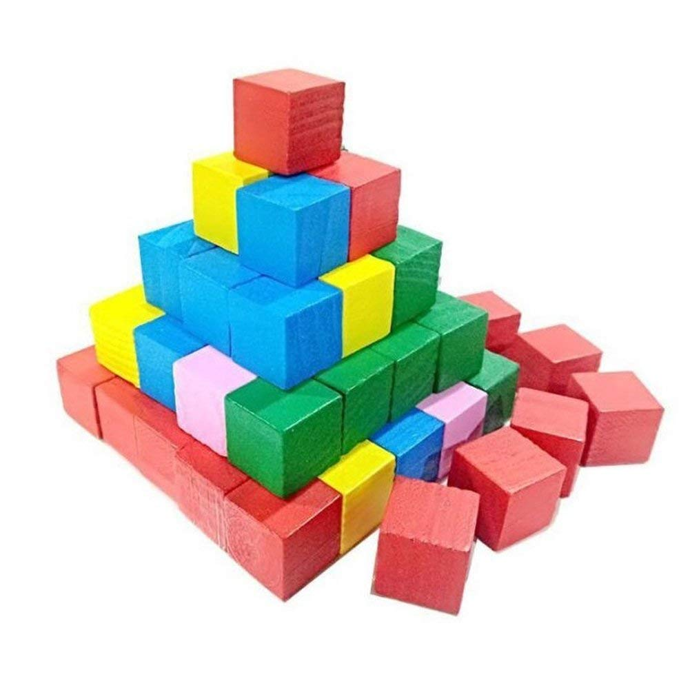 Ireav Wooden Cubes - Wood Square Blocks Learning Resources Color Math Sorting,Measuring,Counting and Building Toy - 25 Pieces