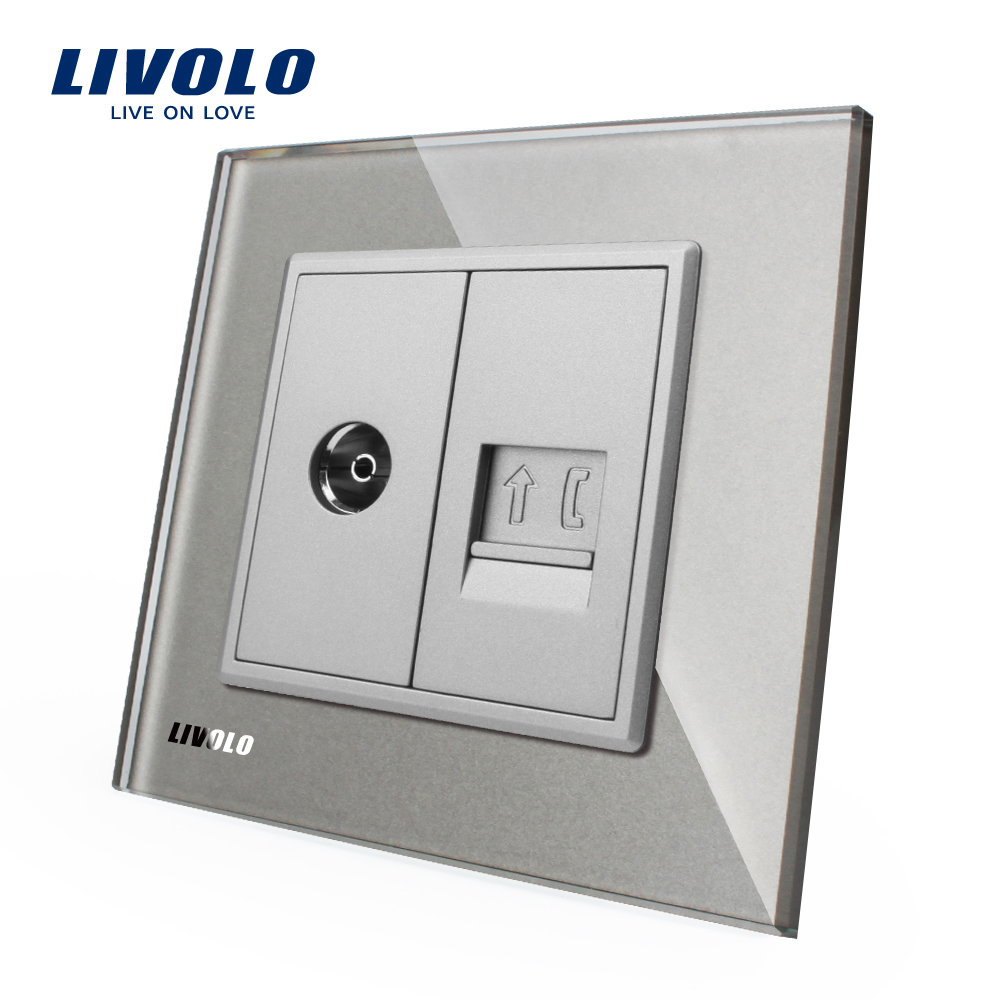 Livolo EU wall socket with tel and tv Without Plug adapter