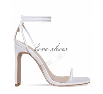 367e66590f Latest design lace up transparent strap Square Toe sandals white color toe  loop flat block heel
